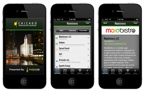 Chicago Innovation Awards iPhone App by KeyLimeTie